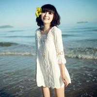 Free shipping+ Spring 2014 summer women's sweet chiffon lace half sleeve crochet beach casual dress one-piece dress