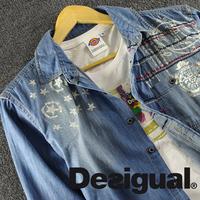 Top trend national embroidery 100% cotton water wash denim shirt Men long-sleeve denim shirt