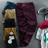 Vintage men's clothing trousers male casual pants slim trousers 100% cotton trousers excellent