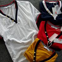 Multicolour bordered sexy deep v neck short-sleeve T-shirt male fashion round egg bamboo cotton Men T-shirt 100% short-sleeve