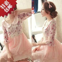 Free shipping+ Casual fashion women's 2014 peter pan collar chiffon floral print dress summer lace one-piece dress