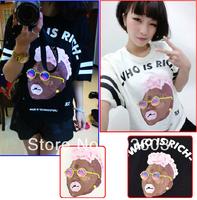 2014 Summer Glasses Negro Printed Striped Loose Short-sleeved T-shirts Harajuku Style Hip-hop Fashion Women Apparel, 2 color