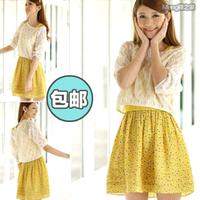Elegant twinset half sleeve young girl chiffon one-piece dress small fresh beach dress