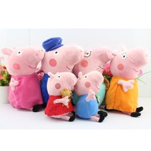 Retail  6pcs/set  30CM  and 19cm Peppa pig plush Peppa and George grandpa AND grandma   Peppa teddy Bear and Geroge Dinosaur(China (Mainland))
