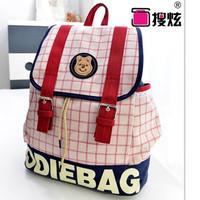 2014 Good Quality letters printed canvas cartoon shoulder bag hit the color plaid handbag backpack women Korean decorative belt