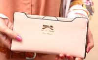 Wholesale Fashion 2014 multi card holder big bow plug-in long design women's wallet female purse bolsas carteira feminina couro