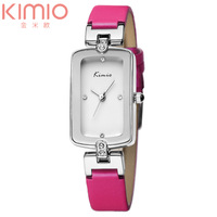 Original KIMIO Brand Lady's Watch Rectangle Dial Slim Leather Band Japan Quartz Wrist Watch Hours (Assorted Colors)