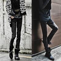 Trend ! male black pants slim pencil mid waist skinny pants trousers