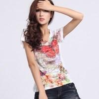 2014 silk cotton digital print butterfly rhinestones short-sleeve t shirt women M,L Wholesale price