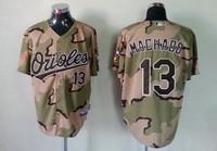 Mlb jersey grey orioles 13 machado green camo baseball uniform Camouflage