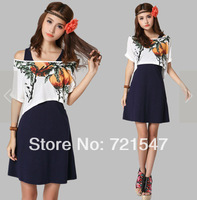 2014 Summer O-Neck Vintage Knitting Printing Loose Two-piece Women Dress,FREE SHIPPING.