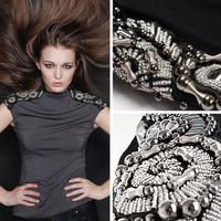 2014 fashion handmade beading epaulette slim all-match high quality modal t shirt women 2cors S,M,L,XL