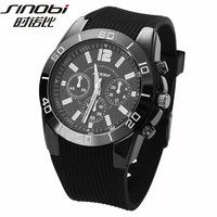 New Original SINOBI Men's Watch Golden Case Rubber Band Quartz Sport Wrist Watch (Assorted Colors)