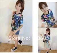 Summer Small Fresh Star Fantasy Color Round Neck Short-sleeved T-shirts Harajuku Style Hip-hop Fashion Women Apparel, 3 color