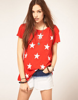 Wildfox starshine red white start print short-sleeve T-shirt jumper black