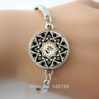 Glass cabochon dome charm bracelets bangles, Yoga Jewelry, Om Symbol, Enso Zen Meditation Buddha Buddhism Mandala Art Bangles