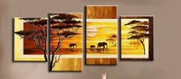 no framed!Promotional Price savannah 5pcs Large size HAND PAINTED oil painting Canvas Modern Decorative Abstract art wall