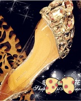 Fashion lady high heel metal crystal gem transparent handmade diamond wedding shoes pointed toe flat women's single shoes