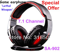 SA902 Cool E-sports games  Headset 7.1 Channel Surround Sound Game Headphone with Mic Remote Control USB computer earphone SADES
