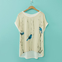 2014 summer new arrival fashion women t-shirts chiffon lady tee crasal short shirts women blouses clothes wholesale 0446