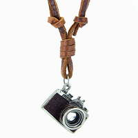 100% Genuine Leather Necklace Punk Vintage Jewelry Camera Pendant Necklace CLPS028