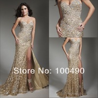gold Sequined Formal dresses 2014 with Sparkly Colorful Crystals Side Prom gown 213C20