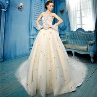 High Quality Celebrity Strapless Tulle Silk Organza Vera Wedding Dress Bridal Ball Gown long trailing wedding Dress 2014 Fashion