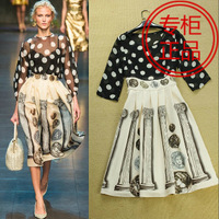 Fashion women's 2014 vintage patchwork print dot twinset