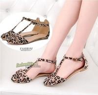 Fashion summer button horsehair patchwork leopard print sandals flat sandals for women size 35-39