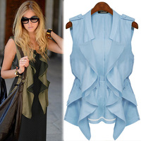 Fluid chiffon vest top fashion plus size clothing spring and summer mm 2014 trench vest