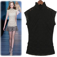Spring 2014 women's slim turtleneck white female twinset lace shirt women's basic t-shirt short-sleeve