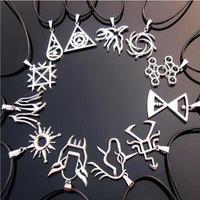 Fashion South Korean Popular Combination EXO LU HAN KRIS TAO Leather Cord Titanium Steel Long Chain Pendant Necklace Collar