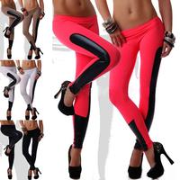 New 2014 Plus Size Fashion Sexy Women Milk Silk Patchwork Black Faux Leather Stretch Leggings Pants