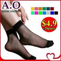 New 2014 spring & summer 40PCS=20PAIRS=1 LOT Crystal Silk Ultra-thin Transparent Women Short Socks 17 candy colors