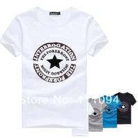 2014   Men's clothing base fashion wholesale man short sleeve t-shirts slim Five-pointed star print cotton four colors  M-XXXL