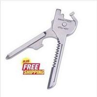 Free shipping 20pcs/lot SWISS + TECH Pocket Knife 6 In 1 Utili-Key Multitool Survival Knife Folding Knife