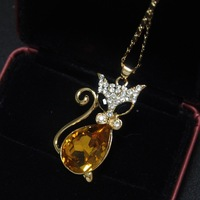 Vintage MR TIE CAT Diamante Pendant Necklaces 18K Gold Plated Women Cat Necklace Fashion Unique Jewellery Beautyer J1243138