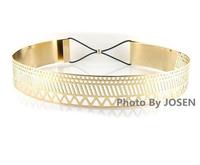 Newest Woman Fashion Belt Waistband Hollow Out Wide Waist Belts Elastic Gold Metal Buckle Belts Female Hip Belt Ceinture Women
