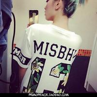 Fashion hiphop street HARAJUKU gd misbhv flowers digital 13 T-shirt short-sleeve tee free shipping