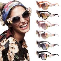 2014 New Retro VTG 3D Flower Rose Embellished Baroque Cat Eye UV Summer Beach Sunglasses Shades Sunnies Eyewear