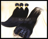 Bundle hair with closure Malaysia virgin hair Straight with one 3 part lace closure Free Shipping