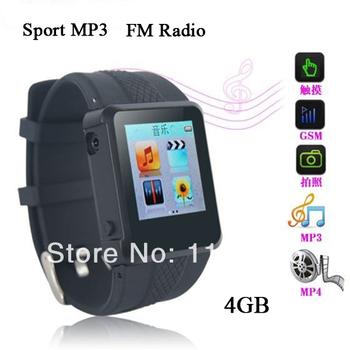 Оптовая продажа спорт наручные часы 4 ГБ mp3-плеер с диктофон чтения электронных книг FM радио бесплатная доставка