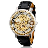 G8098 Cut Out Design men Round Dial Automatic Mechanical Watch with leather strap cheap wholesale wristwatches