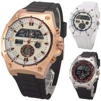 FUCDA Outdoor Classic Dual times quartz digital mens watches, new style fashion gold Waterproof Stopwatch Sport Watch for Men