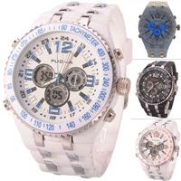 Brand FUCDA Super Functional Men's Silicone Digital Analog Quartz Dual movement display Sport Wrist Watch 3 colors for choosing