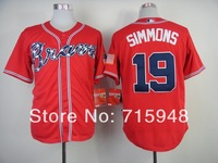 New Baseball Jerseys Braves Jersey #19 Simmons New Red Color Cool Base Jersey Stitched Size 48-56 Mix Order