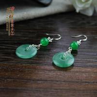 Flower jade green button drop earring dricing natural malay jade earrings cheongsam hair stick accessories