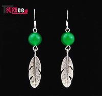 Natural malay jade green vintage royal earrings earring tibetan silver