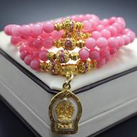 Aa peach pink malay jade multi-layer women's elephant god bracelet apotropaic fortune