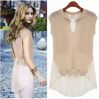 2014 NEW  fashion  summer fashion chiffon top plus size shirt sexy tops   medium-long women's t-shirt chiffon short-sleeve t3